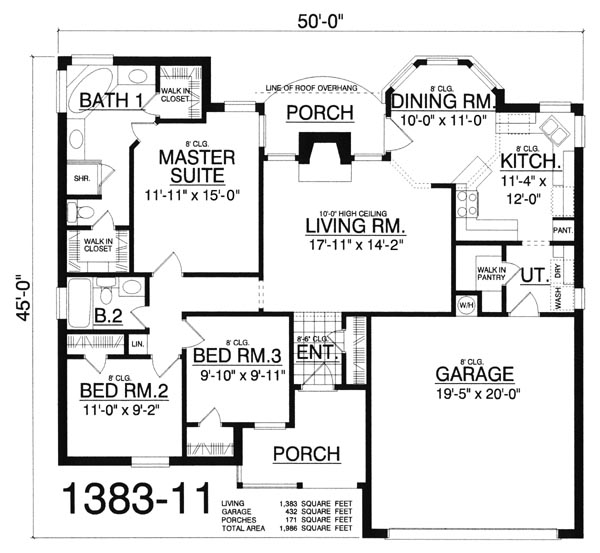 Traditional house plan with 3 bedrooms and 2 5 baths for Double wide floor plans with basement