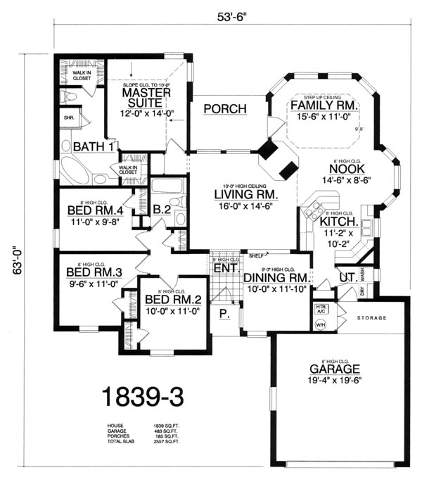 Plan With 4 Bedrooms And 2 5 Baths
