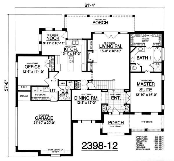 European House Plan With 3 Bedrooms And 2 5 Baths Plan 2981