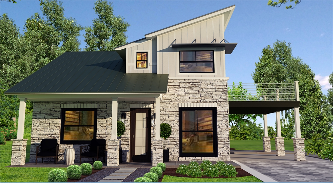 Front Exterior Rendering by DFD House Plans
