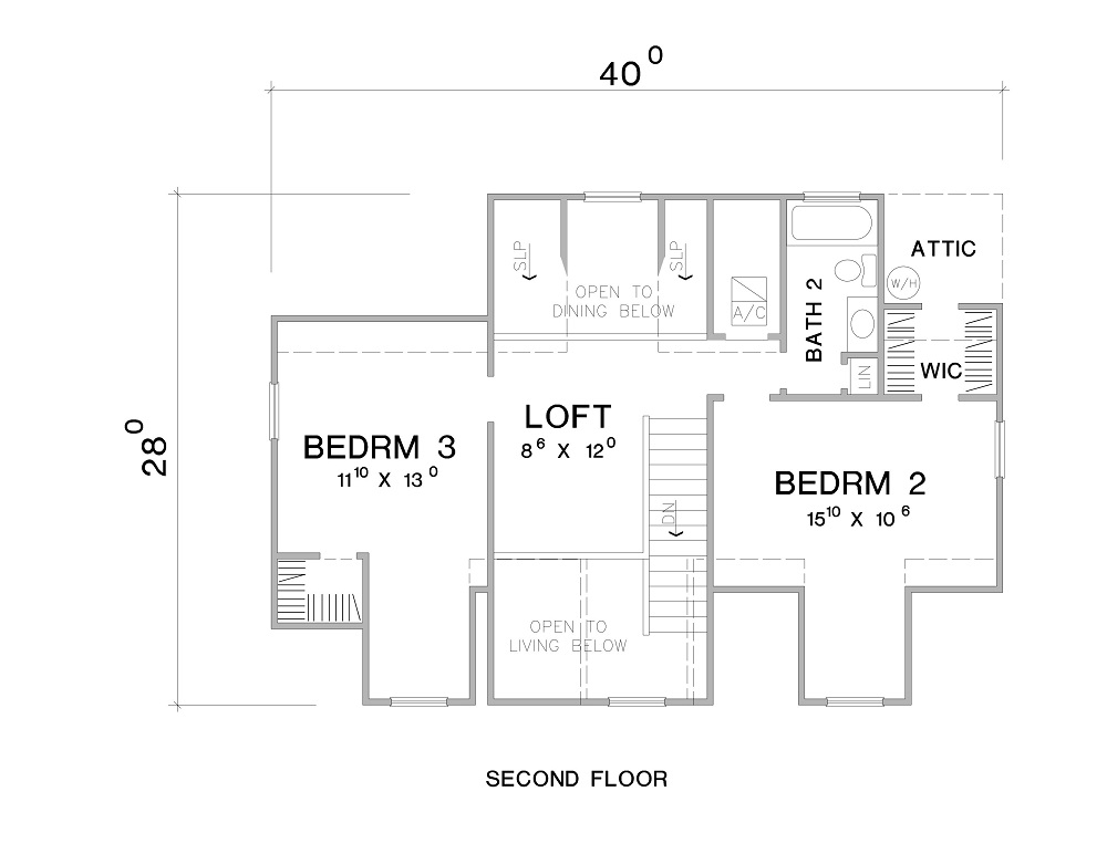 Second Floor Plan image of The Woodville House Plan