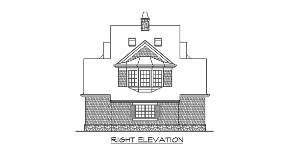 Right Elevation image of Astoria Cottage House Plan