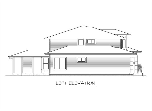 Left Elevation Plan : Contemporary house plan with bedrooms and baths