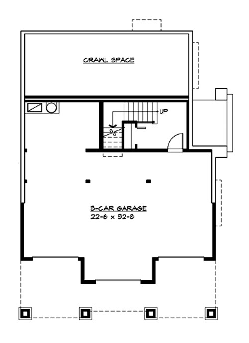 Craftsman house plan with 3 bedrooms and 2 5 baths plan 3214 for Crawl space foundation cost per square foot