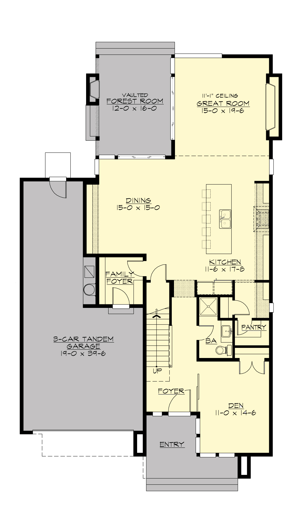 Contemporary house plan with 4 bedrooms and 3 5 baths for Main floor