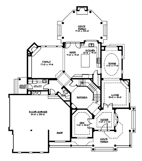Farm House House Plan with 4 Bedrooms and 3.5 Baths - Plan 3225