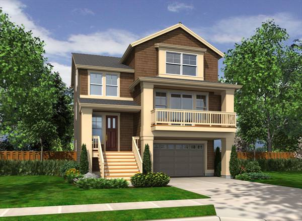 House Plan 4389: 2 Story Beach Home with Drive Under