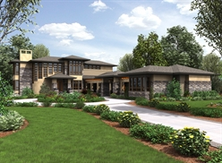 Large Contemporary House Plans with Daylight Basement by DFD House Plans