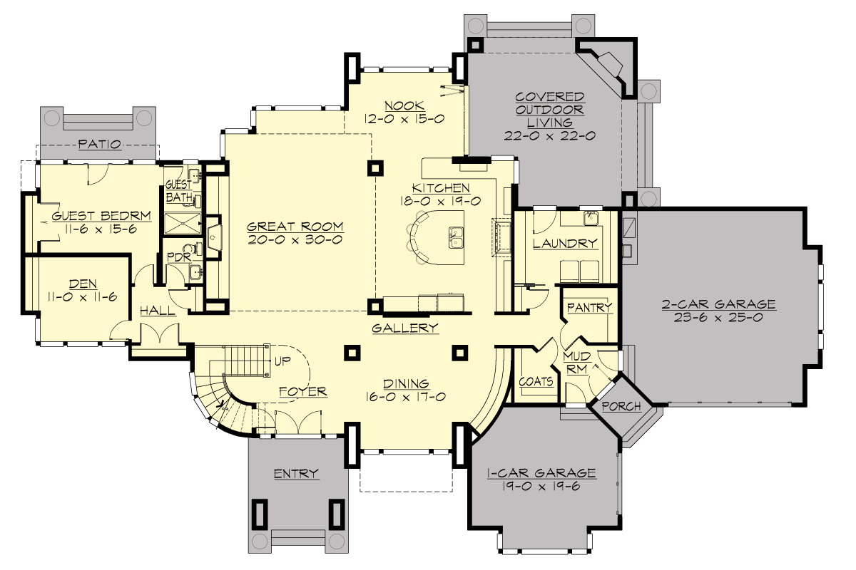 Modern house plan with 4 bedrooms and 4 5 baths plan 9739 for Home plans floor plans