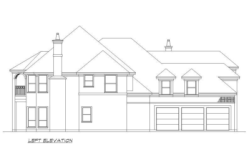 Left Elevation image of Seton Hall House Plan