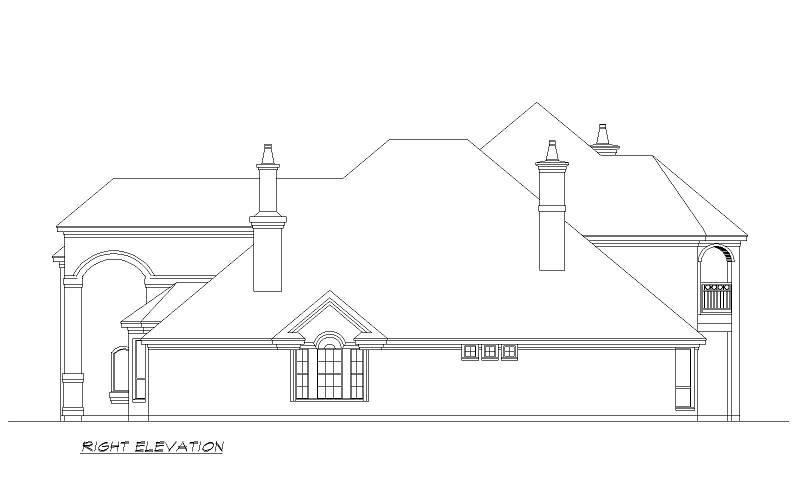 Right Elevation image of Seton Hall House Plan