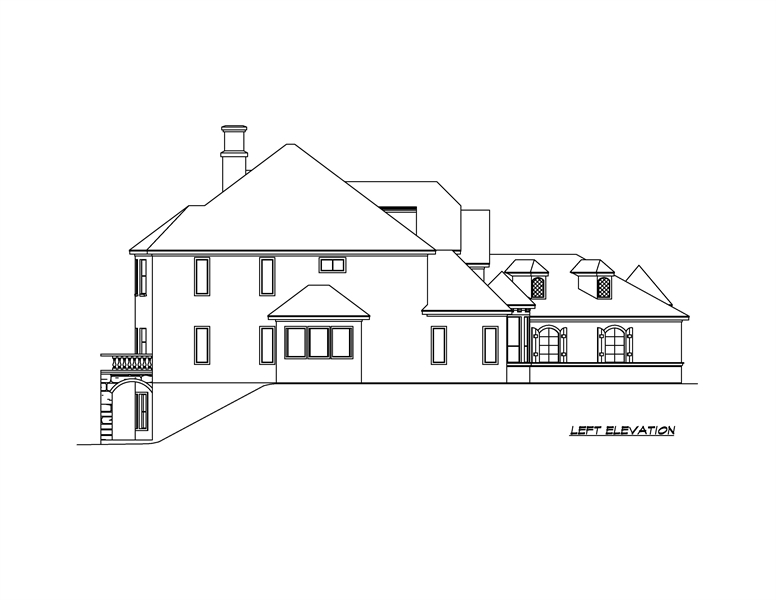 Left Elevation image of Shadow Creek House Plan