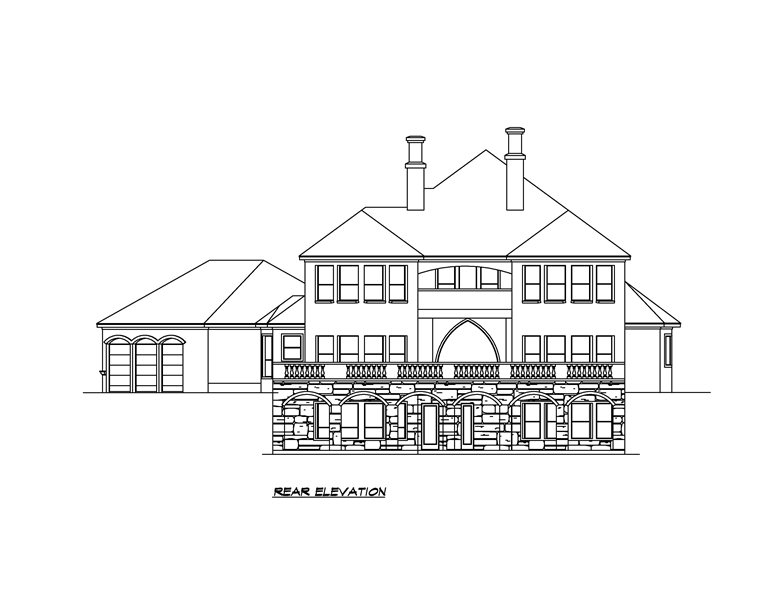 Rear Elevation image of Shadow Creek House Plan