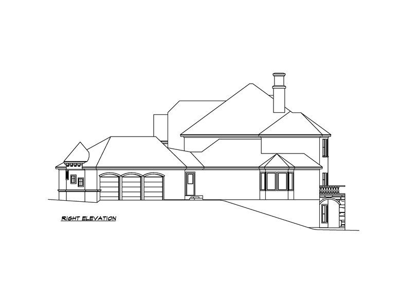 Right Elevation image of Shadow Creek House Plan