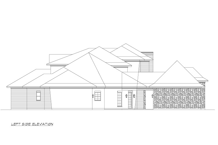 Left Elevation image of Torrey Pines House Plan