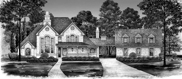 Black White Rendering by DFD House Plans