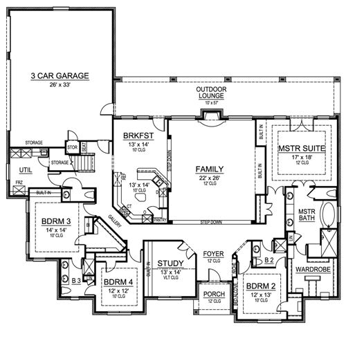 European house plan with 4 bedrooms and 3 5 baths plan 4474 - Single story four bedroom house plans ...