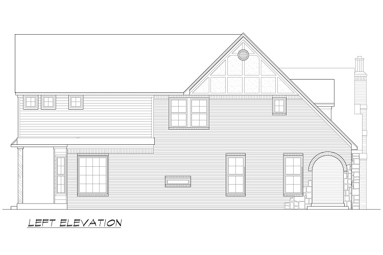 Left Elevation Plan : Spanish house plan with bedrooms and baths