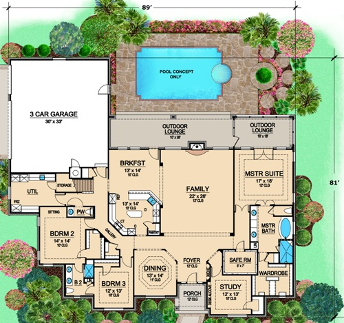 House Plans With Safe Room | European House Plan With 3 Bedrooms And 3 5 Baths Plan 4906