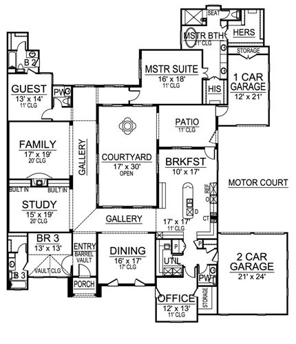 Mediterranean House Plan With 3 Bedrooms And 3.5 Baths
