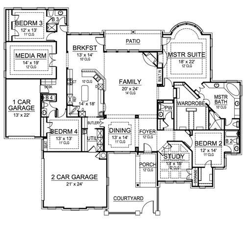 European House Plan With 4 Bedrooms And 4.5 Baths