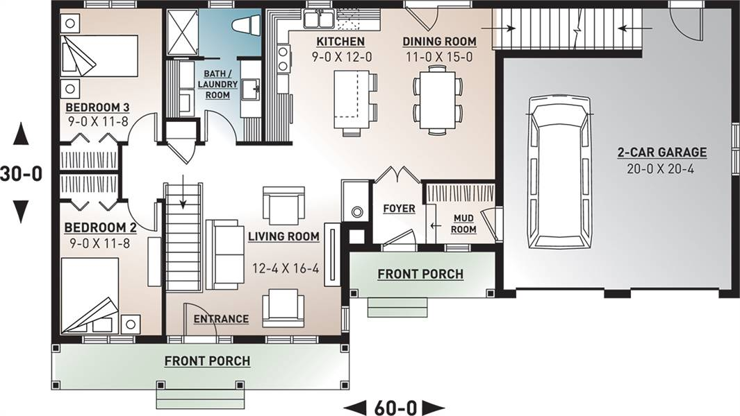 Country House  Plan  with 3  Bedrooms  and 2  5 Baths  Plan  3331