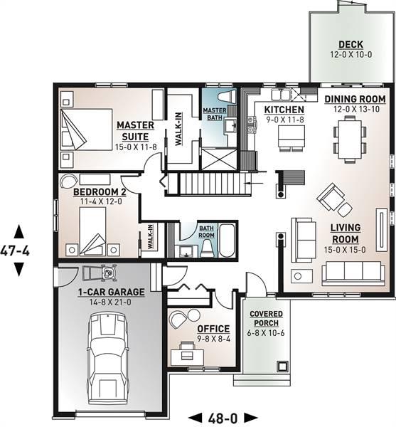 1st Floor Plan image of Woodside House Plan