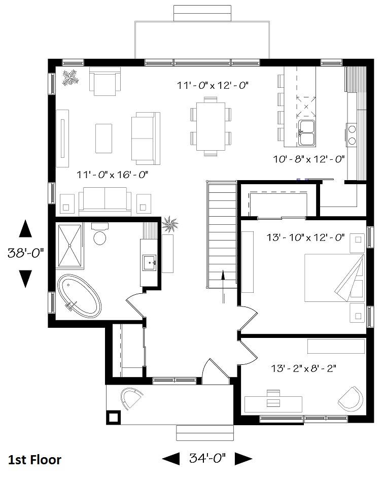 1st Floor Plan image of Camille House Plan