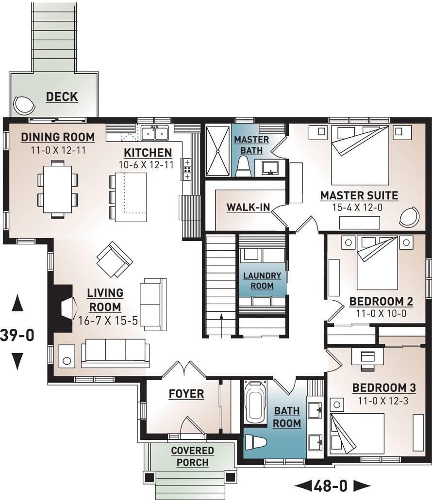 1st Floor Plan image of Providence 1 House Plan