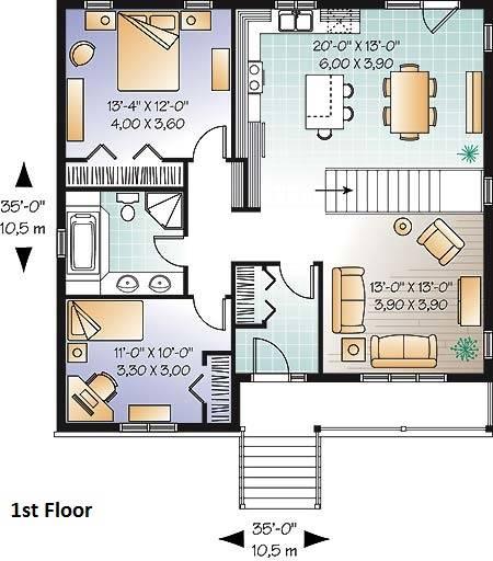 1st Floor Plan image of Madeira House Plan