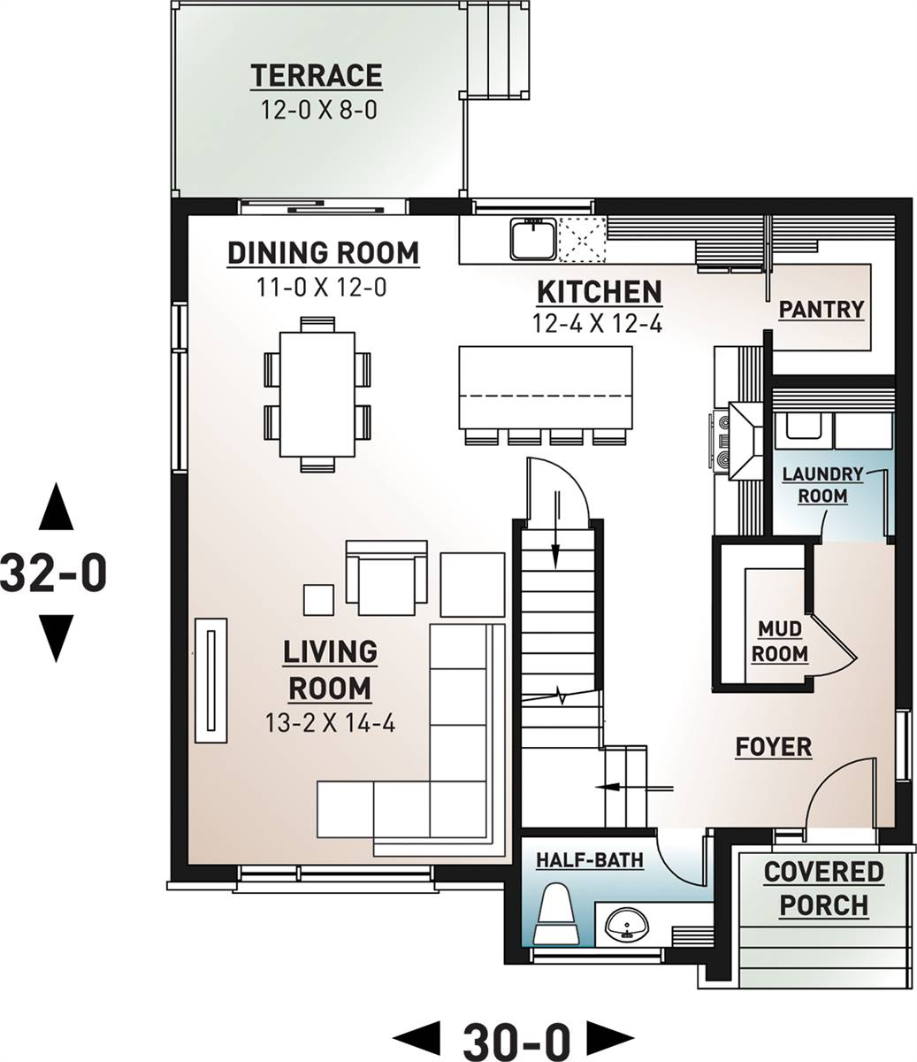 1st Floor Plan image of Lavoisier House Plan