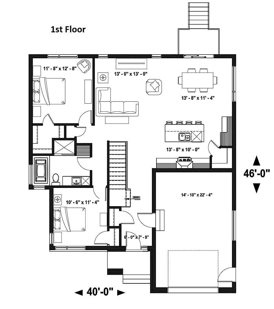 1st Floor Plan image of Pintendre House Plan