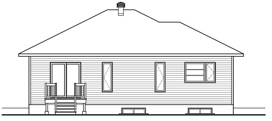 Rear view image of Pintendre House Plan