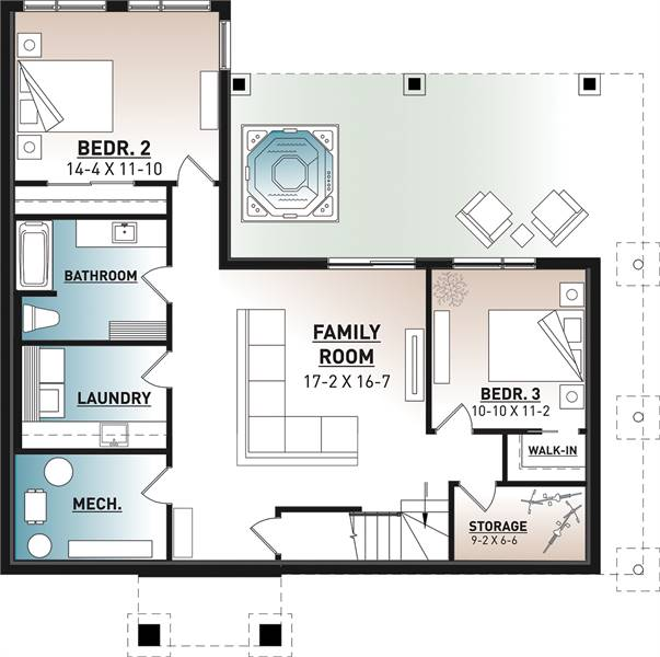 Lower level image of Olypme 4 House Plan
