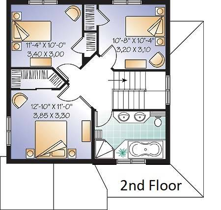 2nd Floor Plan image of Country Charmer 6 House Plan
