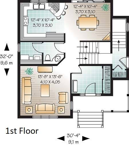 1st Floor Plan image of Country Charmer 6 House Plan