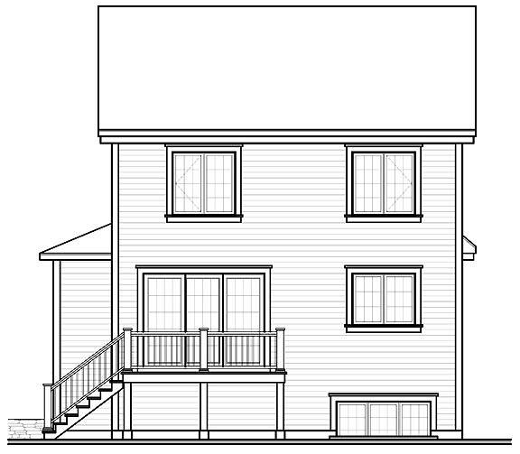 Rear image of Country Charmer 6 House Plan
