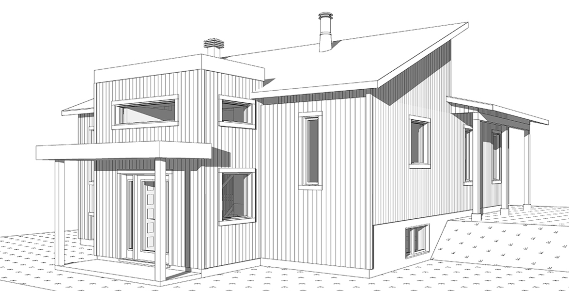 Right rendering image of Billy House Plan