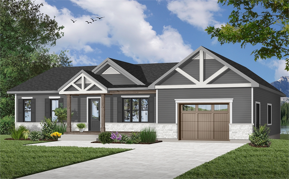 Bungalow House Plan with 2 Bedrooms and 1.5 Baths - Plan 7368 on