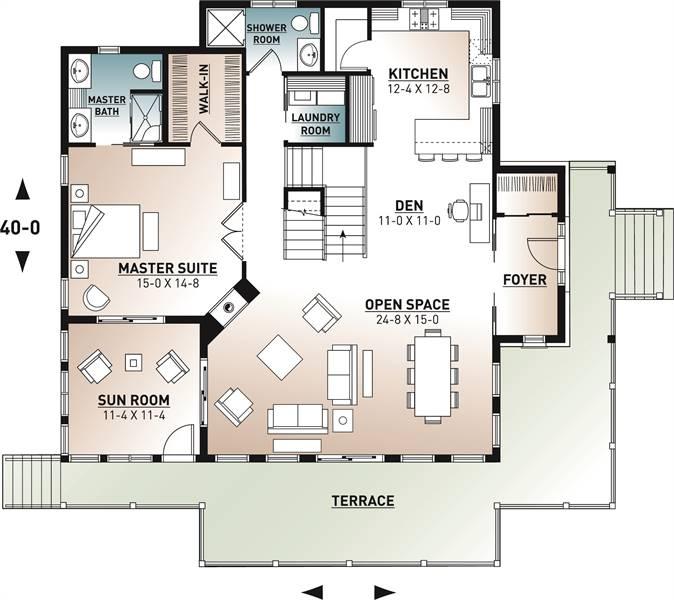1st Floor Plan image of The Pocono 4 House Plan