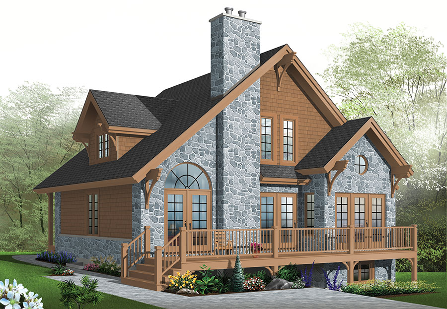 Country house plan with 3 bedrooms and 2 5 baths plan 1142 Rear view home plans