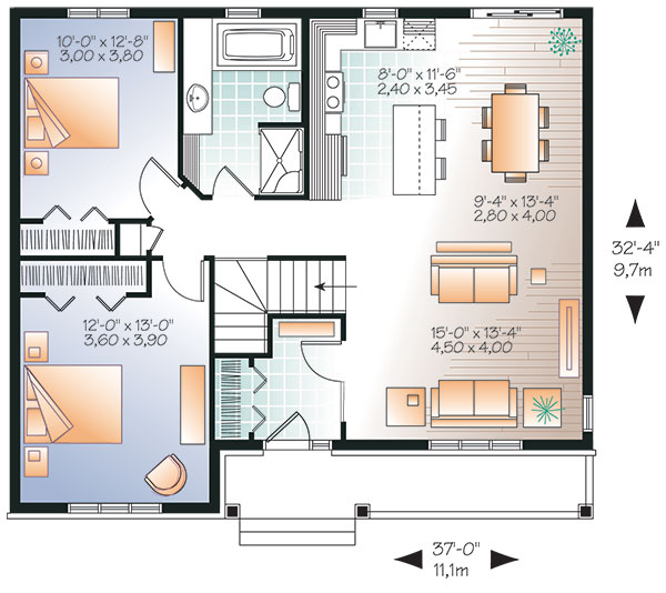 Bungalow House Plan with 2 Bedrooms and 1.5 Baths - Plan 9521 on 30 x 50 floor plans, 50 x 70 floor plans, 50 x 50 floor plans, 40 x 50 floor plans, 20 by 50 house plans, 50 x 60 floor plans, 20 x 50 floor plans,