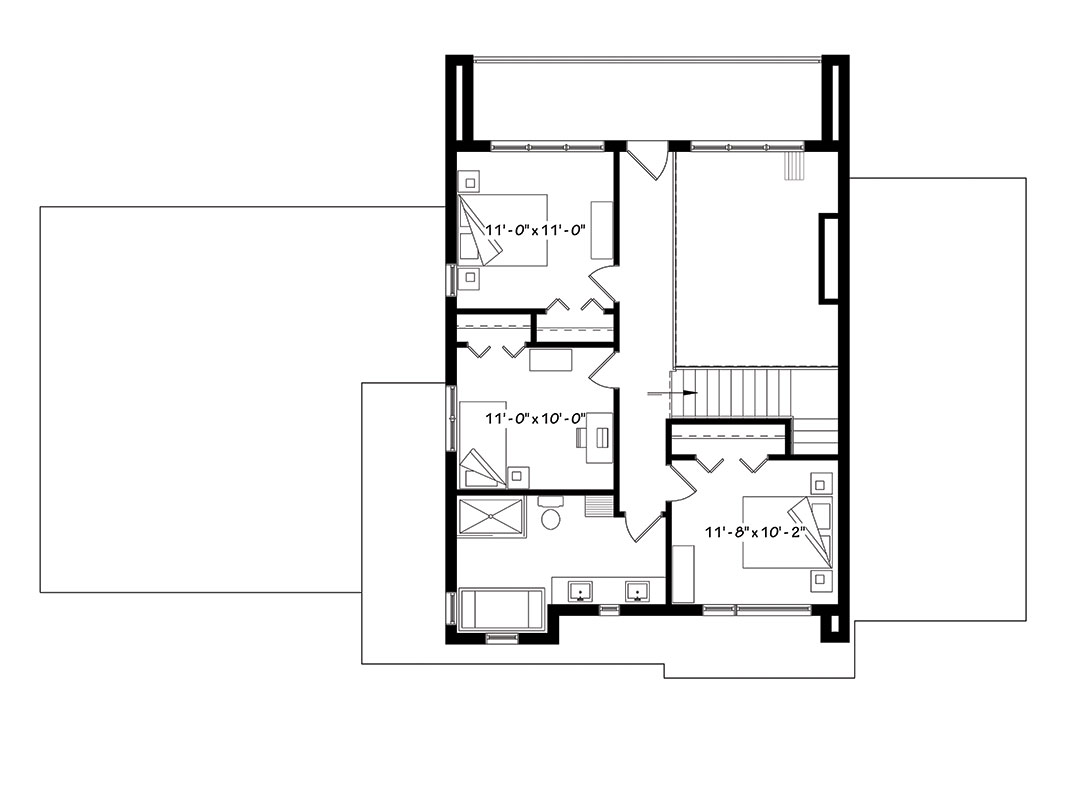 Contemporary House Plan with 4 Bedrooms and 2.5 Baths - Plan 1440