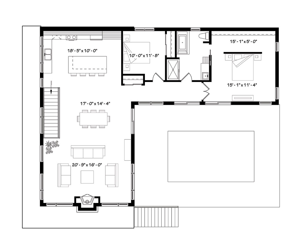 Contemporary house plan with 4 bedrooms and 3 5 baths for Dfd house plans 1897
