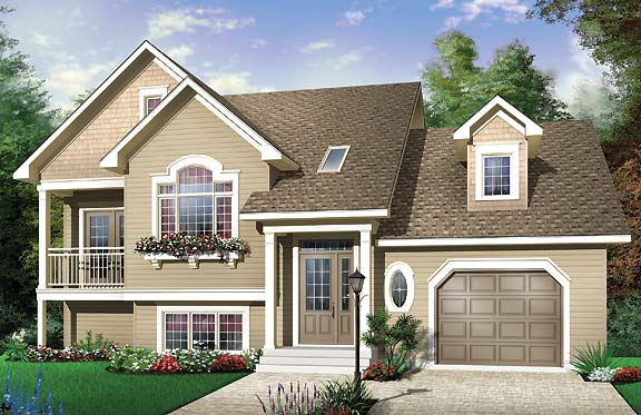 Country house plan with 3 bedrooms and 2 5 baths plan 4680 for Split entrance house plans