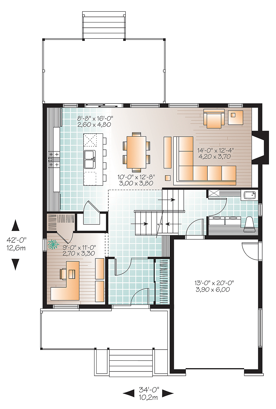 Modern house plan with 3 bedrooms and 2 5 baths plan 4765 for Rear master bedroom house plans