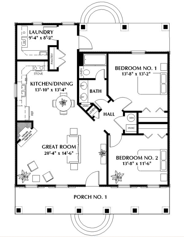 Cottage House Plan with 2 Bedrooms and 1.5 Baths - Plan 5650