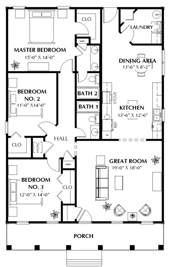 Cottage house plan with 3 bedrooms and 2 5 baths plan 5660 for 40x40 2 story house plans