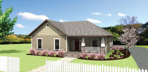 FRONT RENDERING image of The Rosehill Cottage House Plan