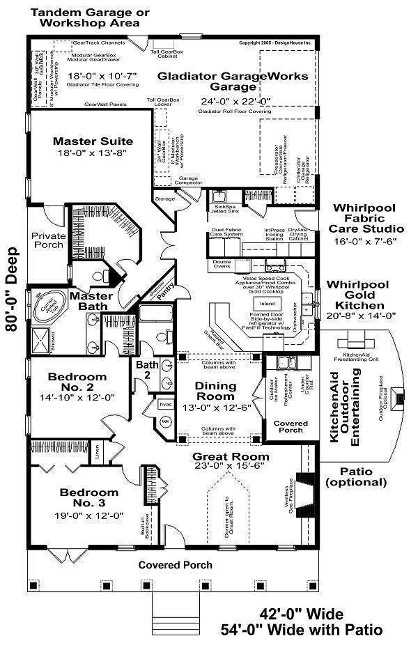 Contemporary House Plan with 3 Bedrooms and 2.5 Baths - Plan 6266 on double wide addition plans, 40' wide home plans, wide shaped homes plans, wide mobile homes, wide building,
